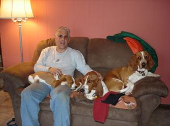 December 2006 Cousin Charlie Russo with Watson, Sherlock and Holly